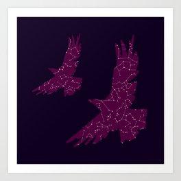 Cosmic Eagle, Purple Galaxy, Constellations Art Print