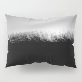 Pine Trees High Res Black and White Landscape Photography Pillow Sham
