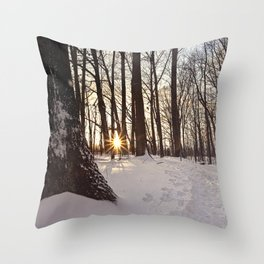 up the snowy path Throw Pillow