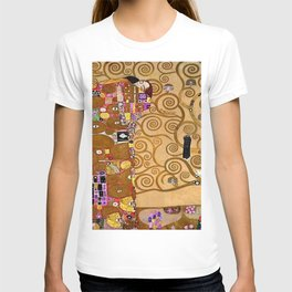 The Kiss, Afternoon, No. 3, Red Poppies, and The Tree of Life portrait painting by Gustav Klimt T-shirt