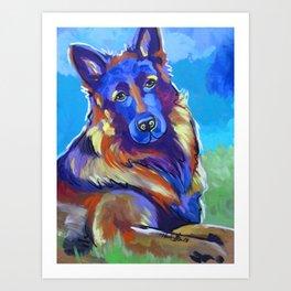 German Shepard Pop Art Dog Portrait 2 Art Print