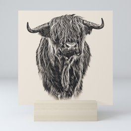 Vintage Painting of Highland Cow Mini Art Print