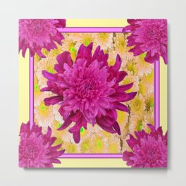 Styalized Art Purple & Yellow Chrysanthemums Floral Garden Metal Print