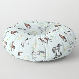 Floral Horse Pattern, Flowers and Horses, Hand Painted, Girl's Room, Romantic Blue Floral Floor Pillow