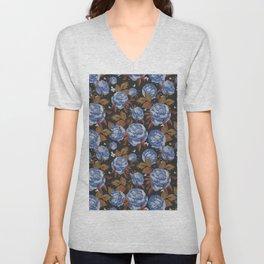 Vintage mauve blue white brown bohemian floral Unisex V-Neck