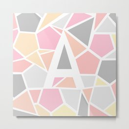 Letter A Geometric Shapes in Warm Colors Metal Print