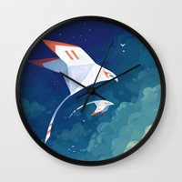 freeminds Wall Clocks featuring Flyby by Freeminds