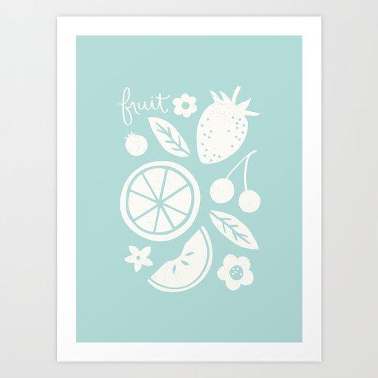 Fruit & Flowers - in Aqua Art Print