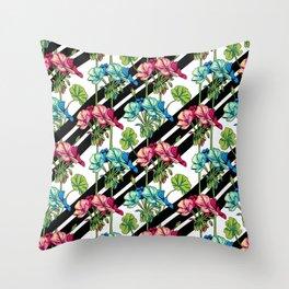 Flowers & Strips Throw Pillow