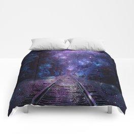 TRAIN tracks Purple Blue Comforters