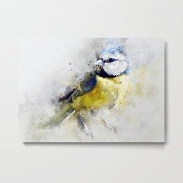 Waterolour blue tit bird painting illustration blue navy yellow artsy animal nature Metal Print