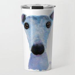 Nosey Dog Whippet Greyhound ' BLUEBELL ' by Shirley MacArthur Travel Mug
