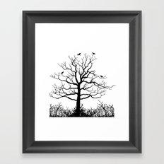 Graffiti Tree B/W Framed Art Print