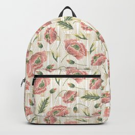 Poppies Embroidery Faux Gold Heart Backpack