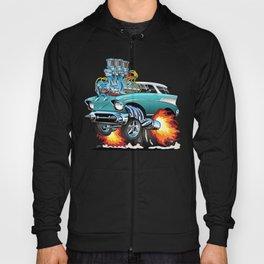 Classic Fifties Hot Rod Muscle Car Cartoon Hoody