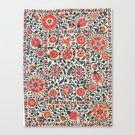 Shakhrisyabz Suzani  Uzbekistan Antique Floral Embroidery Print Canvas Print