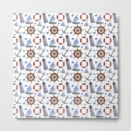 Nautical Pattern Watercolor Elements Metal Print