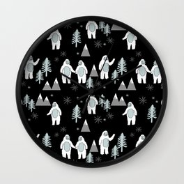 Yeti winter christmas cute forest pattern kids nursery holiday gifts Wall Clock
