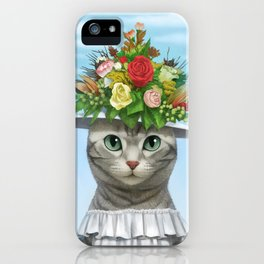 A cat wearing a flower hat iPhone Case