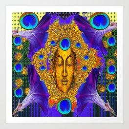 MYSTIC PEACOCK BLUE FEATHER EYES BUDDHA ART Art Print