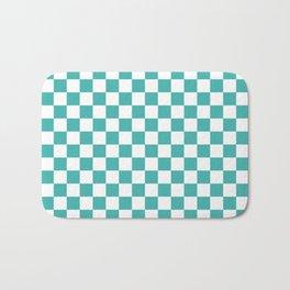 Small Checkered - White and Verdigris Bath Mat
