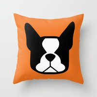 boston terrier Throw Pillows featuring Boston Terrier by smooshfaceunited