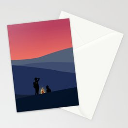 Evening Camping, Camp Fire 1 Stationery Cards