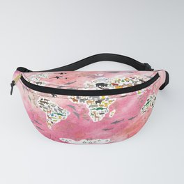 Cartoon animal world map, back to school. Animals from all over the world, pink watercolour watercolor Fanny Pack