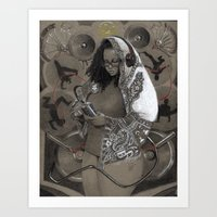 hiphop Art Prints featuring Holy Mother of HipHop Blessed Be Thy Beats. by Kamau Mshale