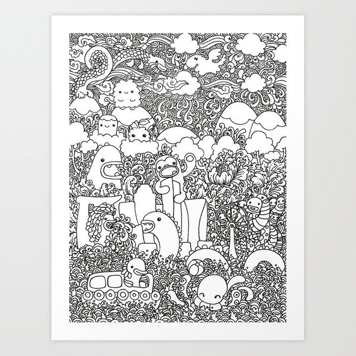 Oodles Of Doodles Singapore White Art Print