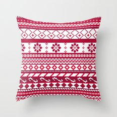 Red Fair Isle Christmas Pattern Throw Pillow