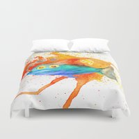 smoking Duvet Covers featuring Smoking fish by gunberk