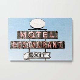 Motel Restaurant Exit Vintage Neon Sign Metal Print