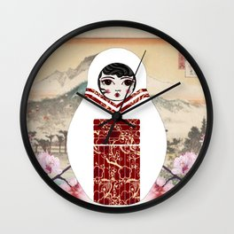 Geisha Matryoshka Wall Clock