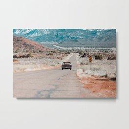 A Road Trip Through The American Southwest In A Classic Convertible Car Metal Print