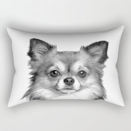 Black and White Chihuahua Rectangular Pillow