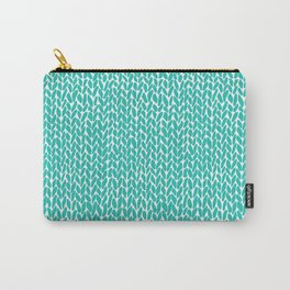 Hand Knit Aqua Carry-All Pouch