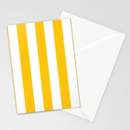 Mikado yellow - solid color - white vertical lines pattern Stationery Cards