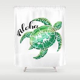 Vintage Hawaiian Distressed Turtle Shower Curtain