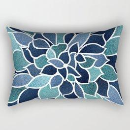 Festive, Flower Bloom, Navy Blue and Teal Rectangular Pillow