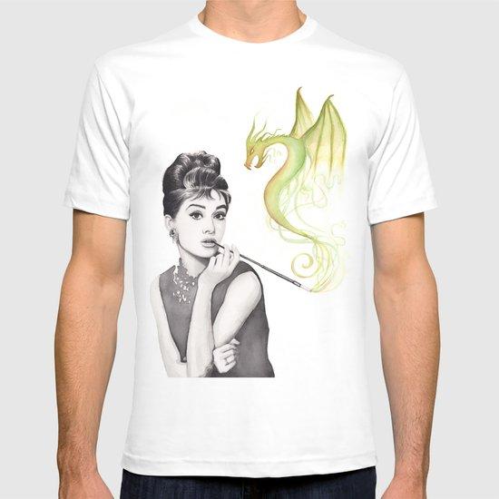 Audrey Hepburn Smoking and Dragon T-shirt