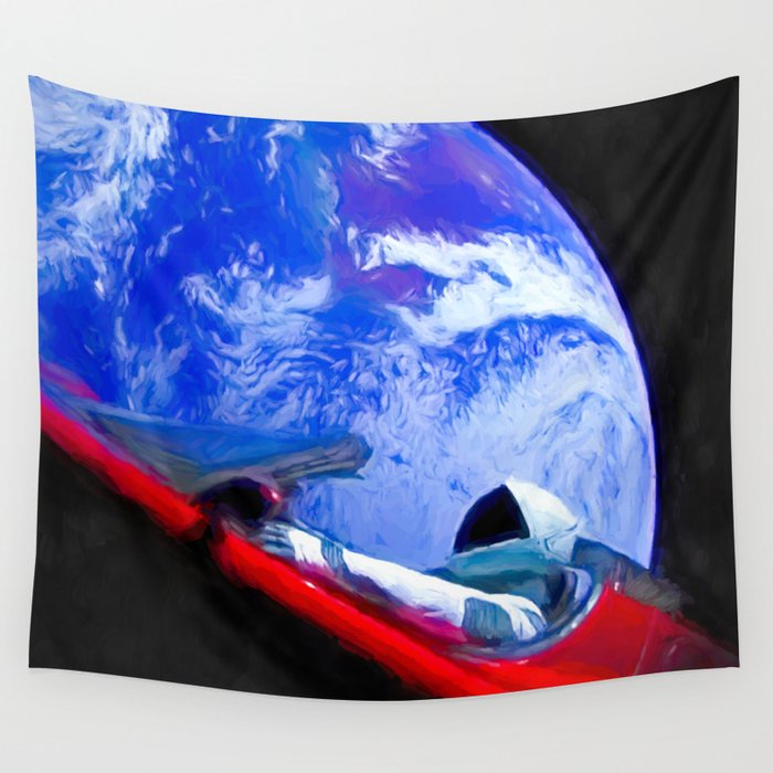 Tesla's Starman Wall Tapestry