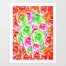 colorful rose pattern abstract in red pink green Art Print