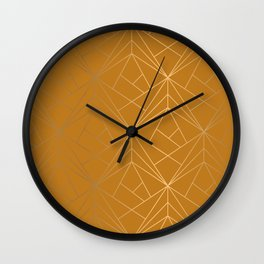 Cinnamon Brown Geometric Gold Pattern With Gold Shimmer Wall Clock