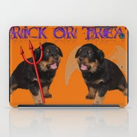 rottweiler iPad Cases featuring Cute Rottweiler Halloween Trick or Treat Greeting  by taiche