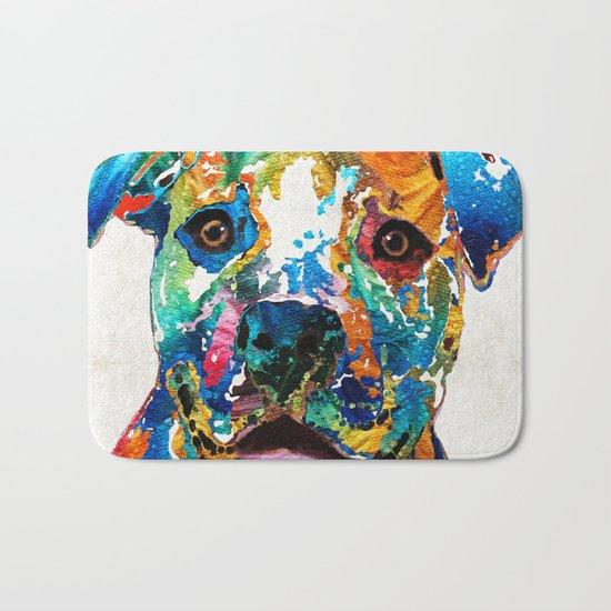 Colorful Dog Pit Bull Art - Happy - By Sharon Cummings Bath Mat