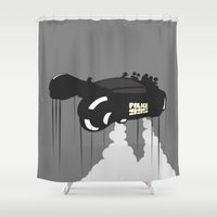 police Shower Curtains featuring Police 995 by Tony Vazquez