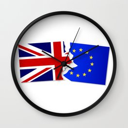 EU and Great Britain Flags Wall Clock
