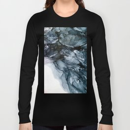 Dark Payne's Grey Flowing Abstract Painting Long Sleeve T-shirt