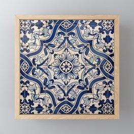 Beautiful Blue Portuguese tile - Azulejo Framed Mini Art Print